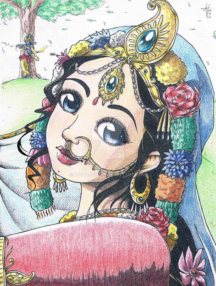 Traditional: Srimati Radharani smile_colored by nairarun15 on DeviantArt
