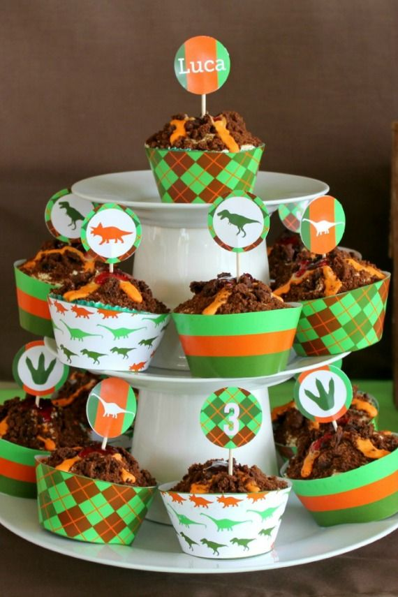 Volcano cup cakes Awesome! by- Love That Party- printable kids party theaming