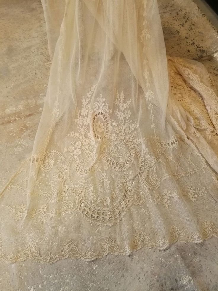 """Antique Victorian Style, Net Lace Tambour Panel, Large 80"""" (2 units available)"""