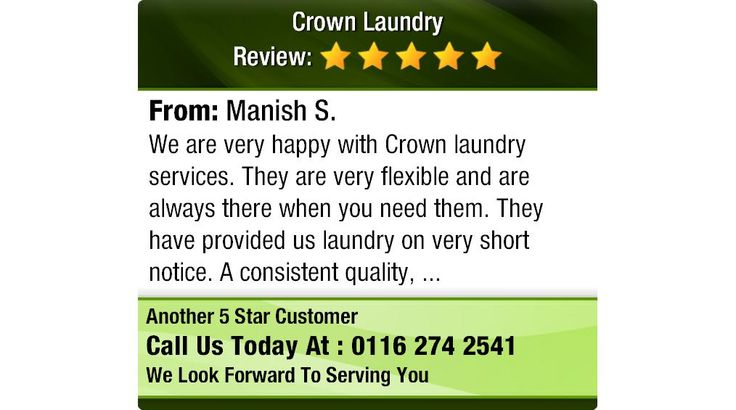 We are very happy with Crown laundry services. They are very flexible and are always...
