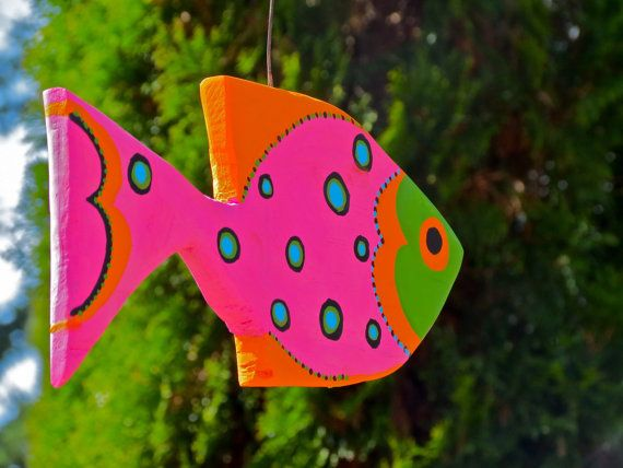 Bright Cheerful Wooden Fish Sculptures  Made to by SusanRainbowLTD, $35.00