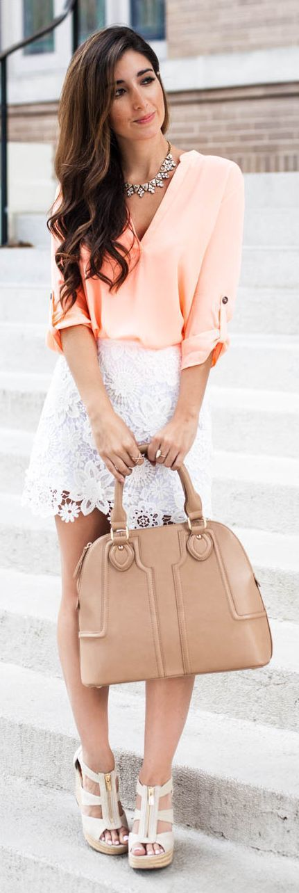 Little Lace Mini Skirt with Pastel V-Neck Top - Da...