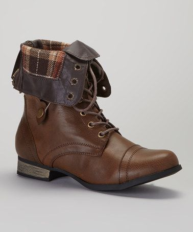 Love this Brown & Plaid Cablee Boot by Charles Albert on #zulily! #zulilyfinds