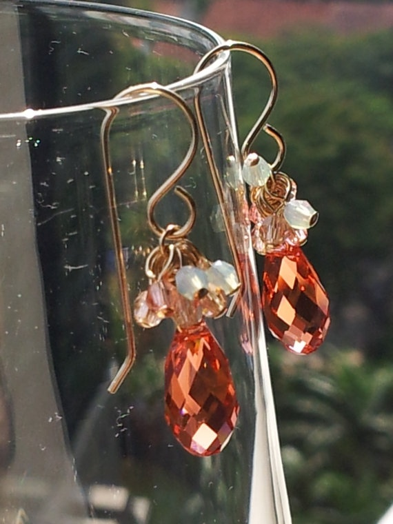 Watermelon pink Swarovski teardrop earrings by SandyYuDesign, $45.00