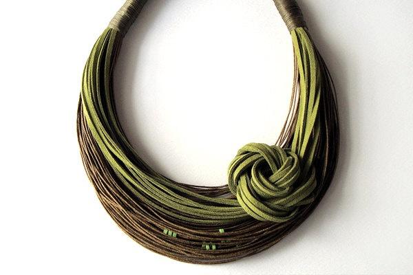 Necklace | Super Little Cute Designs.  Fiber and suede.