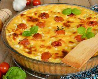 Quiche sans pâte tomates cerise et fromage de brebis