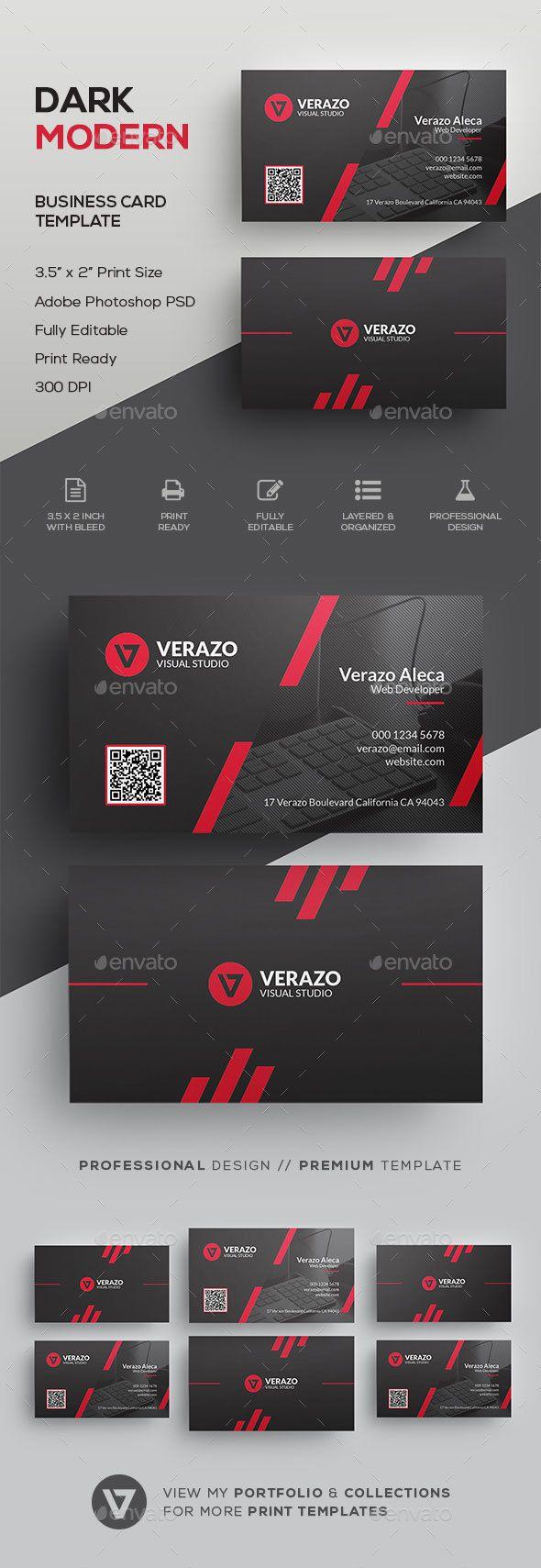Dark & Modern Corporate Business Card Template - #Corporate #Business #Cards Download here:  https://graphicriver.net/item/dark-modern-corporate-business-card-template/19552222?ref=alena994