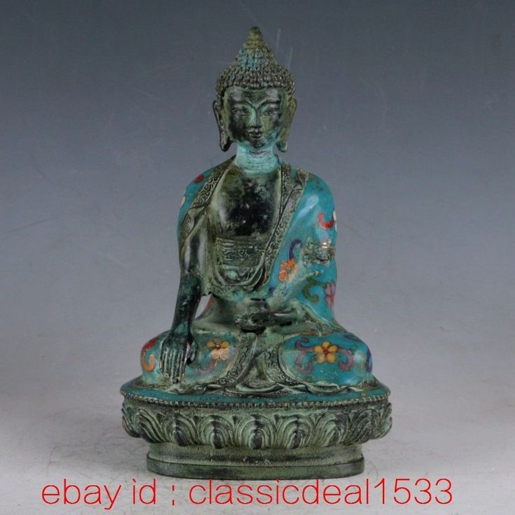 Antique Chinese Enamel Cloisonne Large Buddha Statue Old Asian Art PA1214