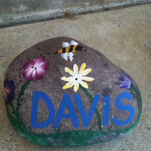 Another Personalized Painted Garden Rock I did!