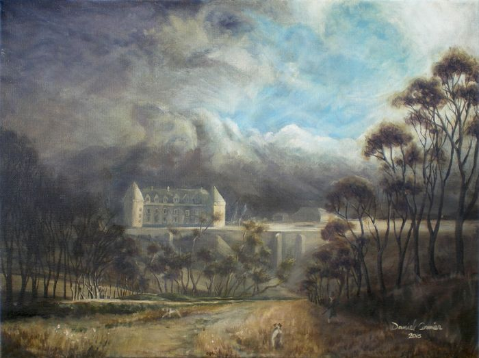 Château de Rochechouart, France (2015) 16x20 Oil on Canvas by Daniel Cormier Capturing a droplet of early Victorian romanticism in a neo-classical form, A french chateau in Oils. The day is clearing and the son of the Viscount de Rochechouart is out on a pheasant hunt with his dogs.
