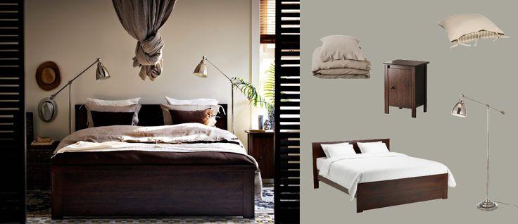 BRUSALI brun seng med nattbord og BAROMETER forniklede gulv-/leselamper