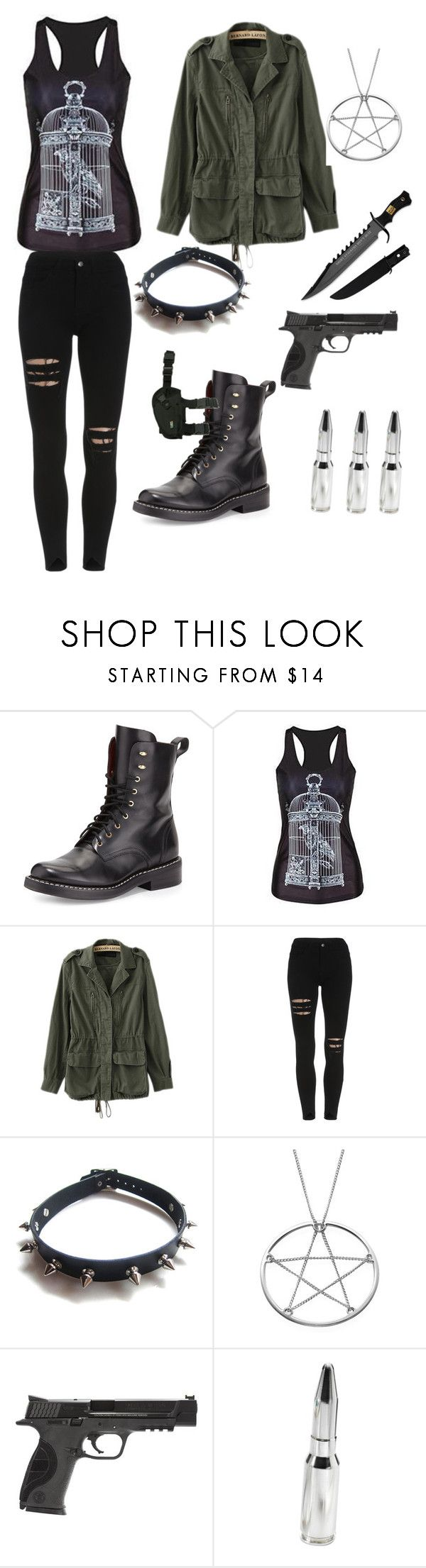 """hunting outfit (supernatural)"" by stargazer9001 ❤ liked on Polyvore featuring rag & bone, Omifa, WithChic, Smith & Wesson, Holster and Cartier"