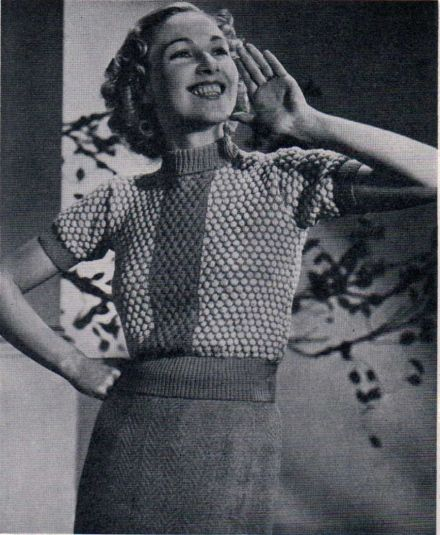 The Jumper On The Cover b&w free vintage knitting pattern 1937
