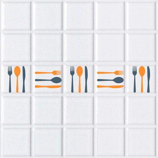 vinilos de cubiertos para decorar los azulejos de la cocina dale a tu cocina un