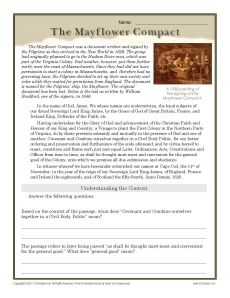 In this worksheet, your student will read and determine the meaning of phrases in the Pilgrims' Mayflower compact. US history. Printables. Worksheets. Social studies.