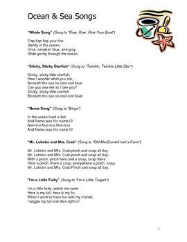 Ocean sea theme curriculum ideas for preschool or for Fish songs for preschoolers