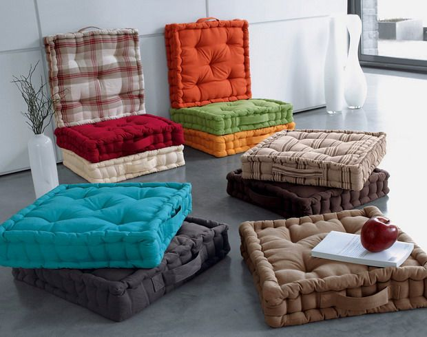 Floor seating has become an evolved universal concept; luxurious rugs,  fluffy cushions, low