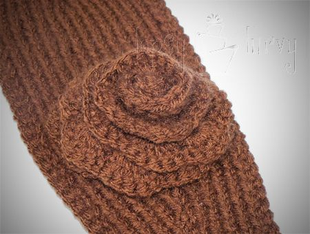Free Crochet Pattern Headband Ear Warmer Button : Knit Ear Warmer Pattern with Flower Crochet