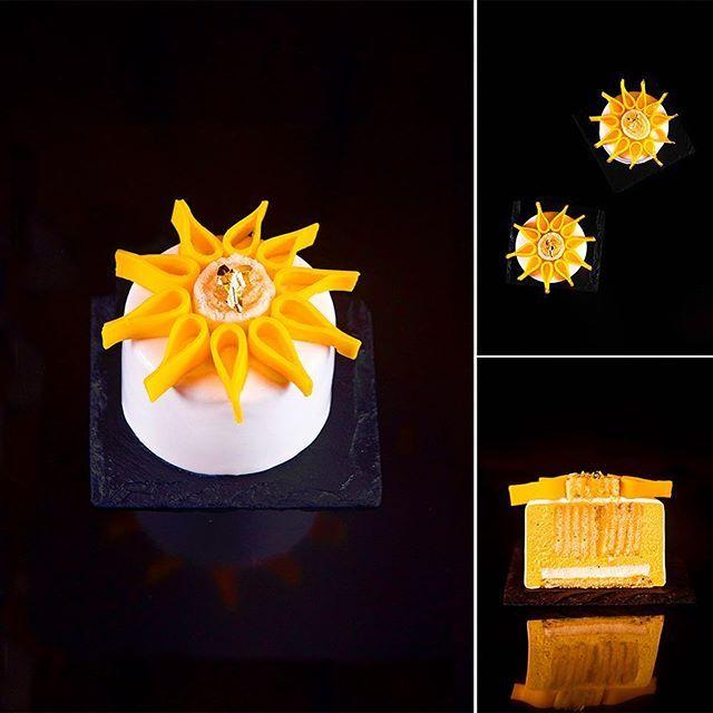 """Individual cake """"Sunflower"""". Composition: orange sponge cake with vanilla; orange panna-cotta; bolo de rolo with passion fruit, lime and lemon; mango mousse. ---- Пирожное """"Sunflower"""". Состав: апельсиновый бисквит с ванилью; апельсиновая панна-котта; боло-де-роло с маракуйей, лимоном и лаймом; манговый мусс."""