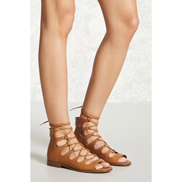 Forever 21 Faux Leather Lace-Up Sandals  Camel ($17) ❤ liked on Polyvore featuring shoes, sandals, camel, camel sandals, small heel sandals, open toe sandals, open toe platform sandals and platform lace up shoes