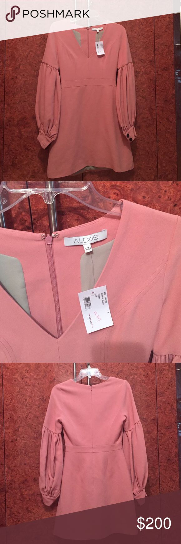 Alexis Ellana Dress in XS, petite, in pink Beautiful Alexis dress! New with label. Gorgeous sleeves in a salmon like pink color. alexis Dresses Mini