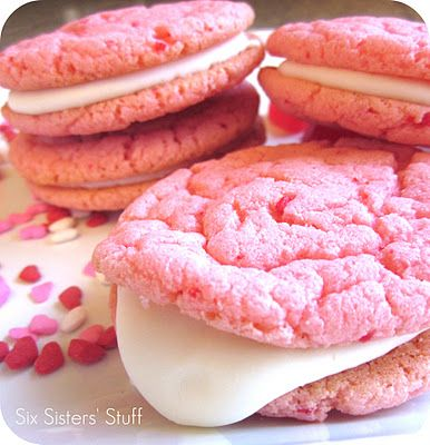 "Strawberry Valentine ""Oreo"" Cookies. YUMMM!!! (update: Make sure your cream cheese is room temperature / soft enough to beat easily into the icing mixture. But these are really delicious!"