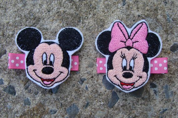 Embroidered  Minnie Mouse and Mickey Mouse Hair by MyLuckyHairBow