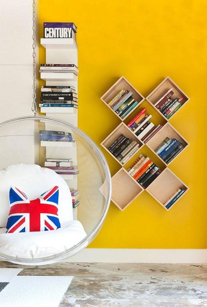 Настенные полки фото которых поражает | Хранение книг ...