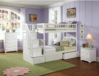 Columbia Staircase Twin over Twin Bunk Bed White