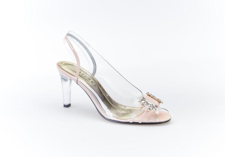 "Sandale habillée en ""Cristal"" et cuir vernis nude - NAON"