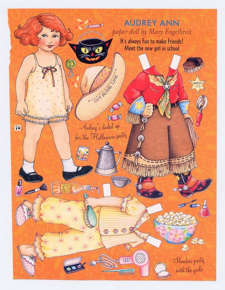 Image detail for -Mary Engelbreit Paper Doll, Audrey Ann Ready For Halloween, Cowgirl ...