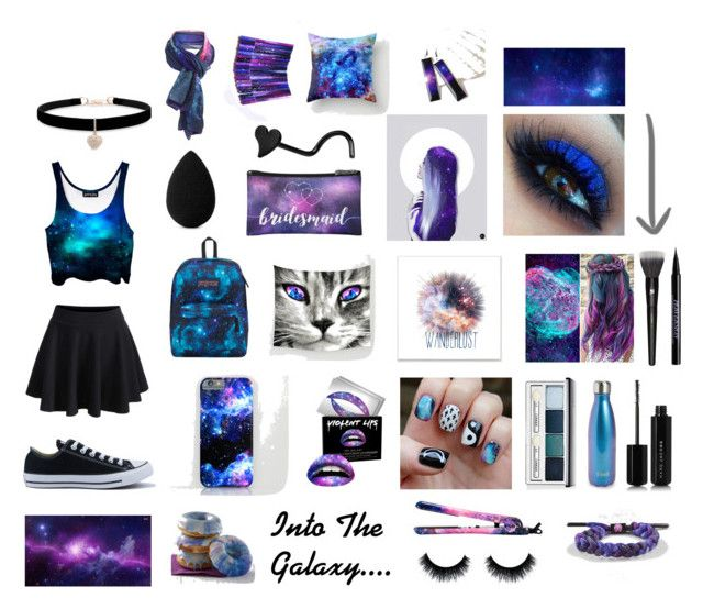 """""""Galaxy Girl"""" by sarah-kookie on Polyvore featuring WithChic, Converse, JanSport, Stupell, Clinique, Forever 21, S'well, Eva NYC, Betsey Johnson and beautyblender"""