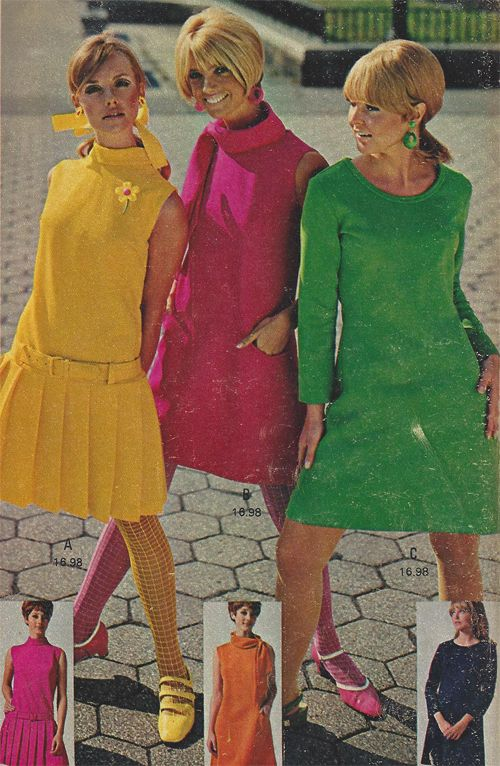60s Fashion Remember the day but not the pix..the big deal was Twiggy! Hot Pants! Sweater Dresses!