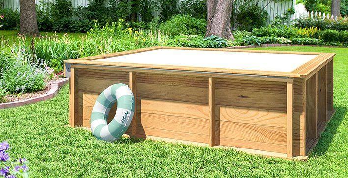 Venta de mini-piscina de madera 2x2x0,63 m. Esta piscina de madera barata es práctica, sólida, bonita y muy segura. Además, al mejor precio del mercado.