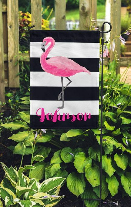 Eye-catching personalized flamingo garden flag, bold black and white ...