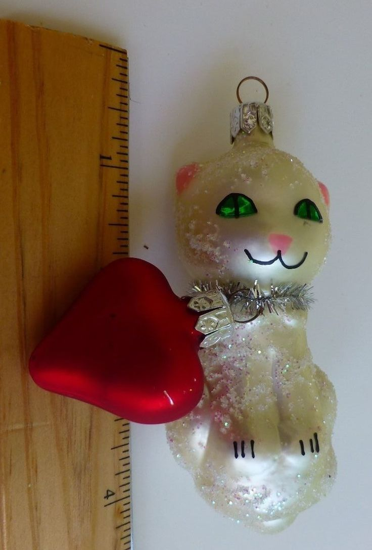 Glass cat ornaments - Holiday Glass Cat With Red Heart Ornament Czech Republic Ebay