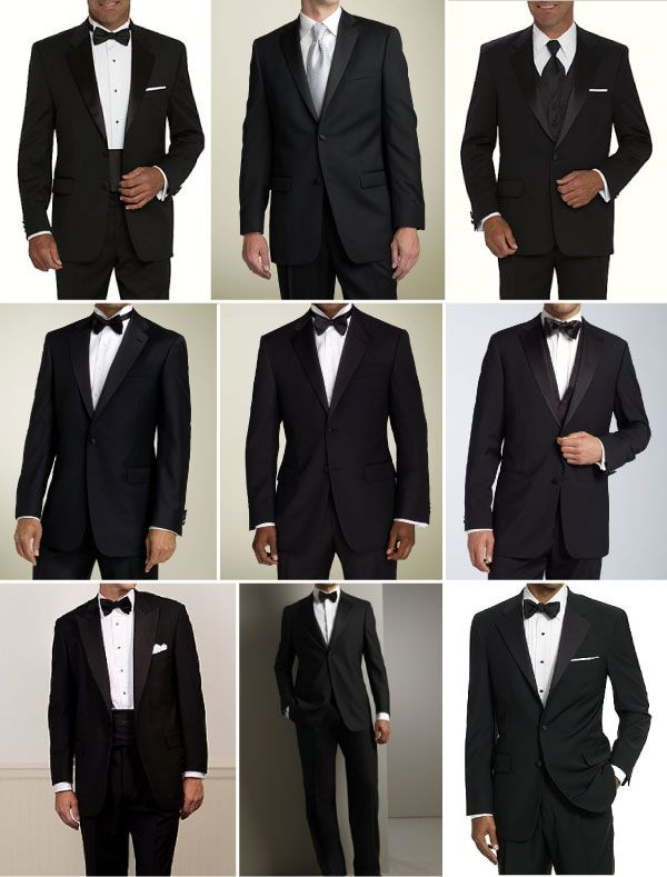 "Tuxedo looks - bottom left looks like the only ""proper one"" notch lapel, single button, cummerbund and bow-tie"
