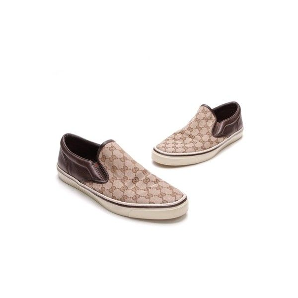 Pre-Owned Gucci Beige/Ebony GG Canvas Signature GG Web Men's Slip-On... ($250) ❤ liked on Polyvore featuring men's fashion, men's shoes, men's sneakers, mens canvas sneakers, mens slip on sneakers, mens slip on shoes, beige mens dress shoes and gucci mens sneakers
