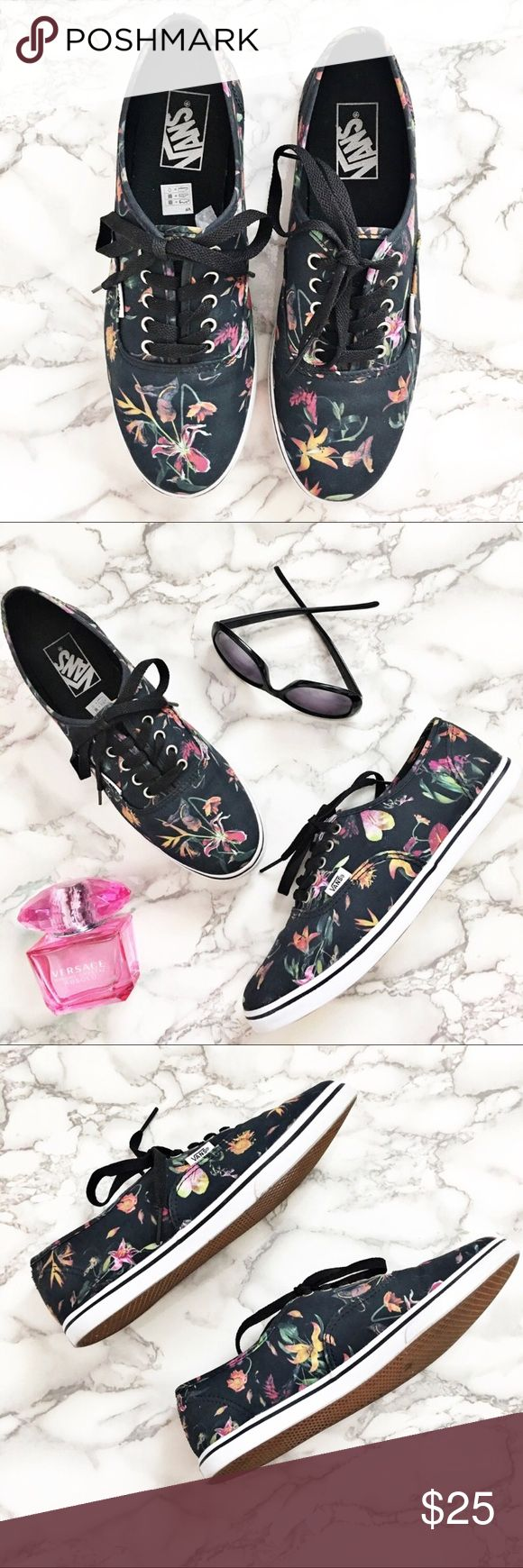 •VANS• Black  Floral Bloom Sneakers Trainers 10 These. Are. Adorable. Bought them off an AMAZING Posher but they don't work for me. I'm very good condition...Vans Bloom Floral Sneakers Women's Size 10. Have a sweet vintage retro vibe to them ... they are SO CUTE!!!! From a smoke free home. For as a true women's 10.  Vans Shoes Sneakers