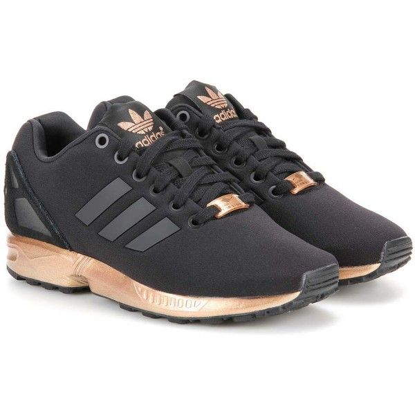 Adidas ZX Flux Fabric Sneakers ($115) ❤ liked on Polyvore featuring shoes, sneakers, black, kohl shoes, black trainers, adidas, black shoes and adidas trainers