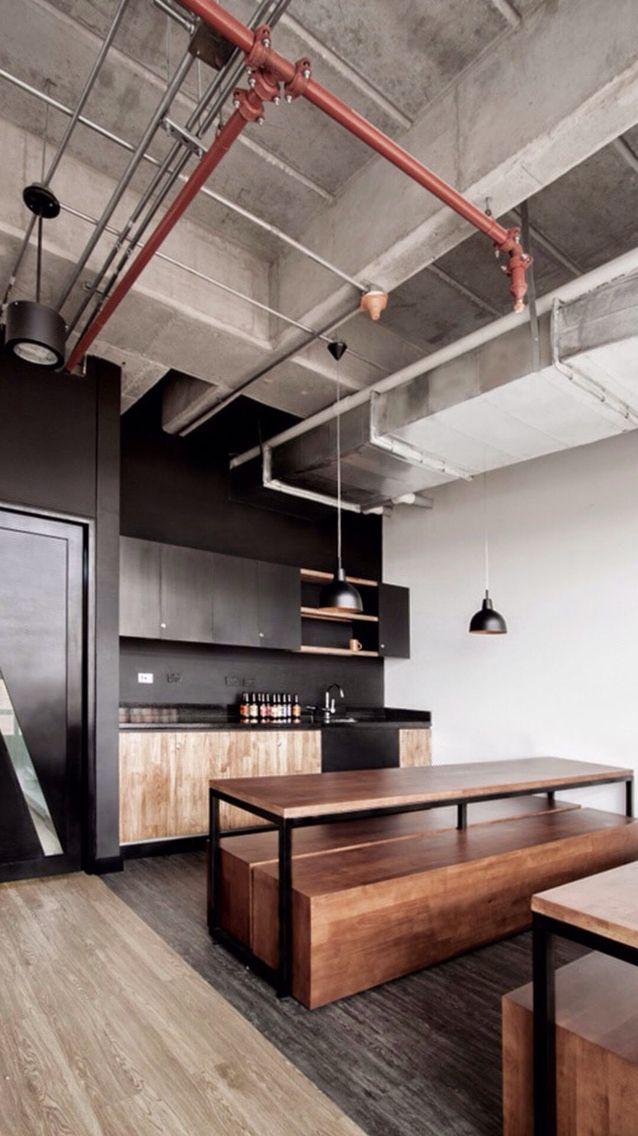 #home #condo #idea #loft #wood #industial #black