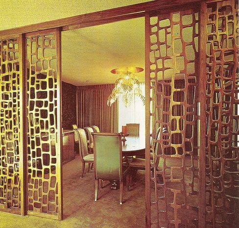 Wood Room Divider - Sliding Design - Retro Style