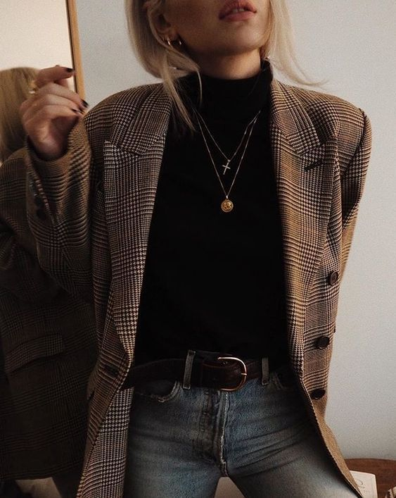Checked jacket, layered necklaces, classic black leather belt, vintage