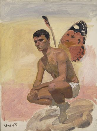 Man with butterfly wings sitting on his heels, 1965, Oil and pencil on paper, 39 x 29 cm by Yannis Tsarouchis.