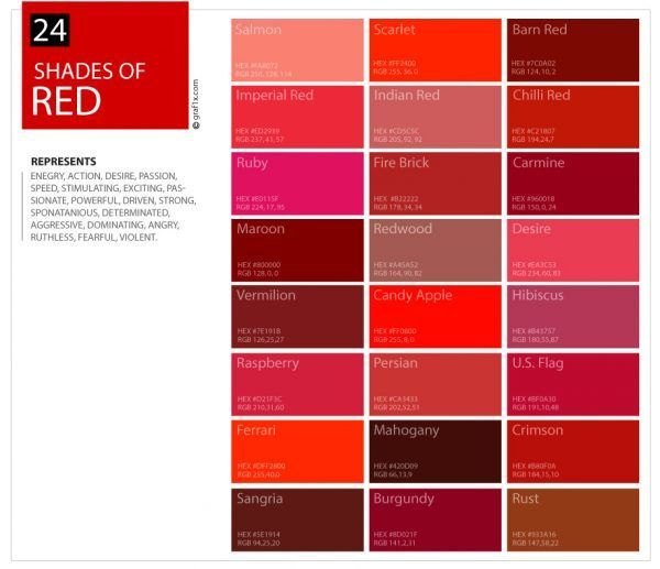 24 Shades Of Red Color Palette