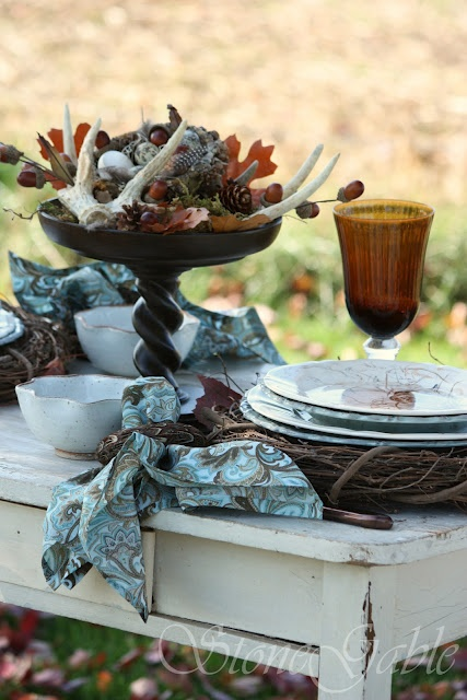 StoneGable: Tablescapes: Fall: Fall Tables Sets, Autumn Blue, Decor Ideas, Fall Decor, Antlers, Woodland Tablescapes, Pine Cones, Farmhouse Tables, Tables Decor