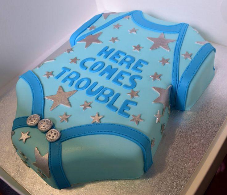 Baby Shower Cake #babyshower #babyboy #blue #herecomestrouble #silverstars #cakedecorating #fondant #sweetemssweets #gender #art
