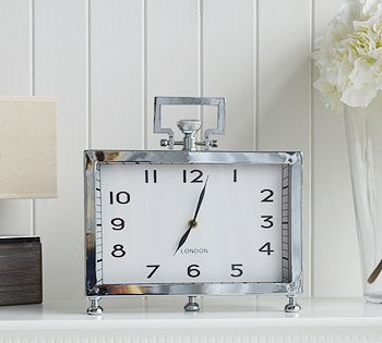 Silver Mantel Clock With Handle Living Room Home Accessories From The White Lighthouse
