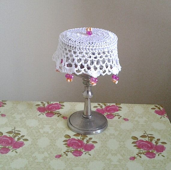 White Crochet Wine Doily cup cover or can cosy. by frillydaisy
