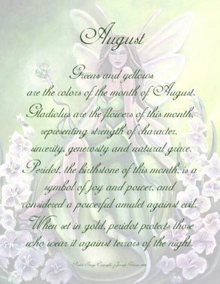 Each fairy is dressed in associated colors and surrounded by flowers of the birth month, seated on a birthstone crystal ball, holding gemstone wand.